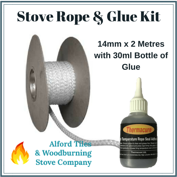 stove rope and glue kit white 14mm x 2m with 30ml glue