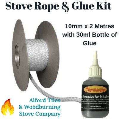 Stove Rope and Glue Kit - 10mm x 2m with 30ml Glue - Stove Door Seals/Glass