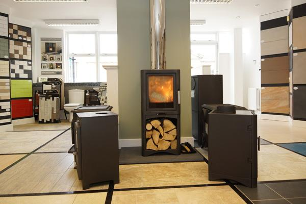 Our showroom with welcoming woodburning stove